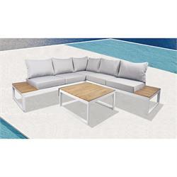 Set Καναπές Γωνία + Τραπεζάκι Alu Άσπρο