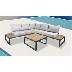 Set (Corner Sofa + Table) Alu Anthracite