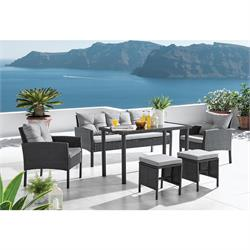 Set Table, sofa, 2 Armch. 2 Stool Wicker