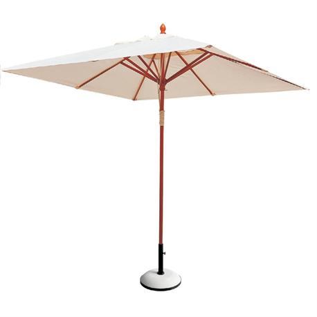 Ομπρέλα ξύλινη τετράγωνη εκρού