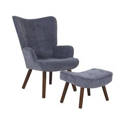 Set Armchair & Stool Light Blue