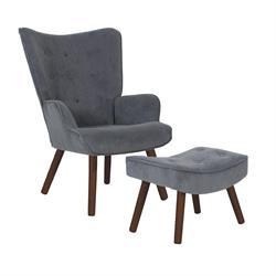 Πολυθρόνα με Υποπόδιο Γκρι