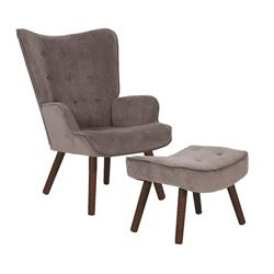 Πολυθρόνα με Υποπόδιο Καφέ