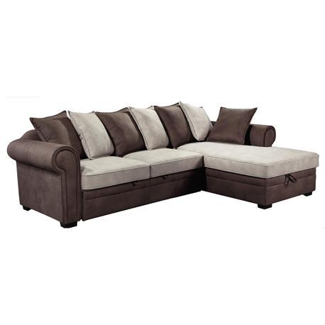 Καναπές-κρεβάτι δεξιά γωνία ύφασμα nabuk αν.καφέ-εκρού