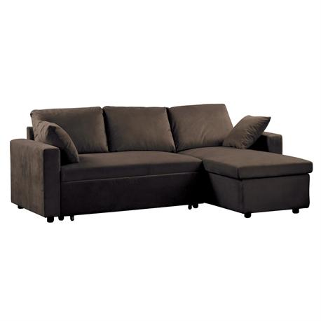 Reversible corner sofa-bed /microlfiber dark brown