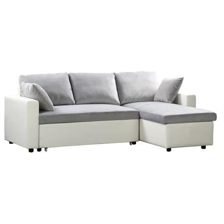 Reversible corner sofa-bed /white PU/microlfiber grey
