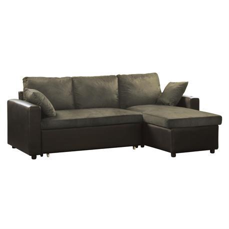 Καναπές-κρεβάτι γωνία αναστρέψιμος/PU-microfiber σκ.καφέ