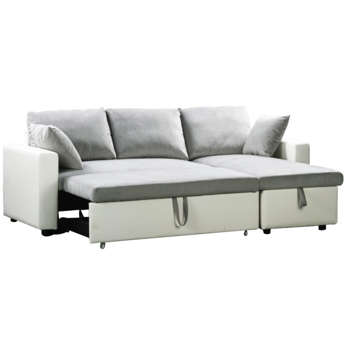 Reversible Corner Sofa Bed White Pu Microlfiber Grey