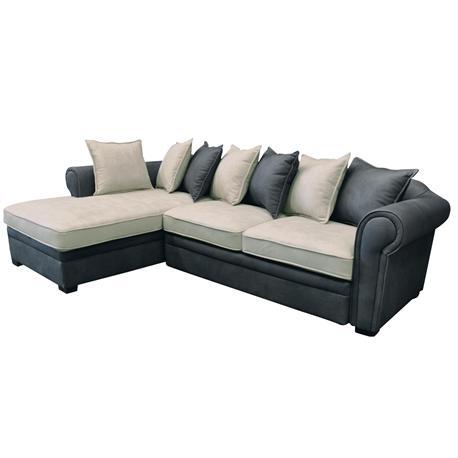 Sofa-bed right corner fabric nabuk grey-ecru