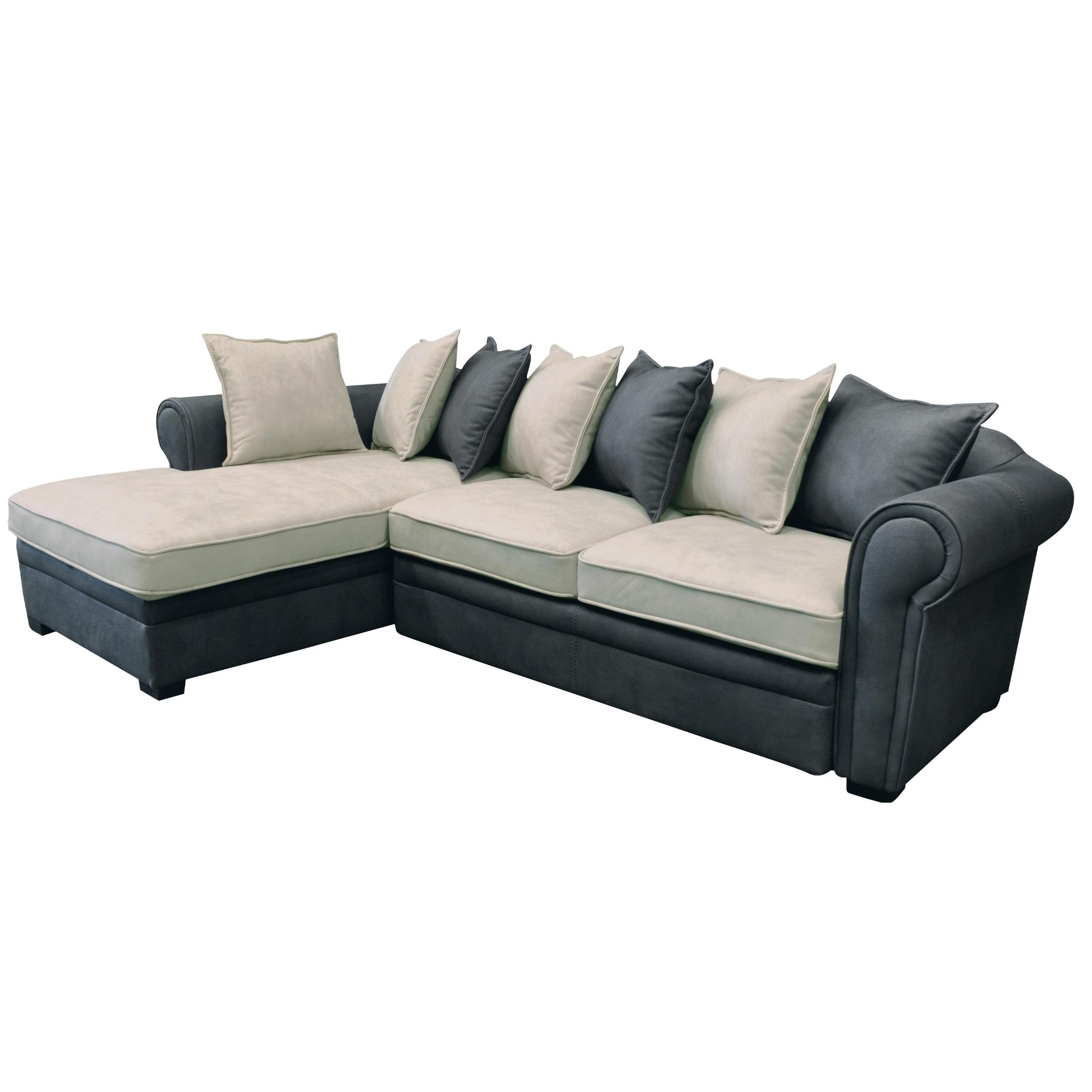 Sofa Bed Right Corner Fabric Nabuk Grey Ecru