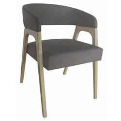 Armchair white wash-fabric dark grey