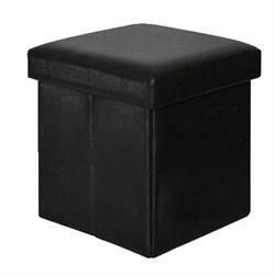 Αποθηκευτικό σκαμπώ μαύρο PU