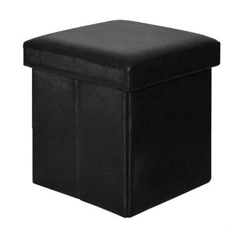 Storage stool black PU