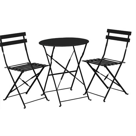 Set table black+2 chairs (folding)