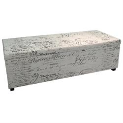 Storage stool fabric deco ecru