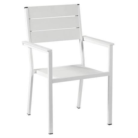Stackable galvanized armchair white Pollywood