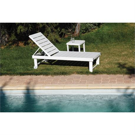 Reclining lounger 5 positions white Pollywood