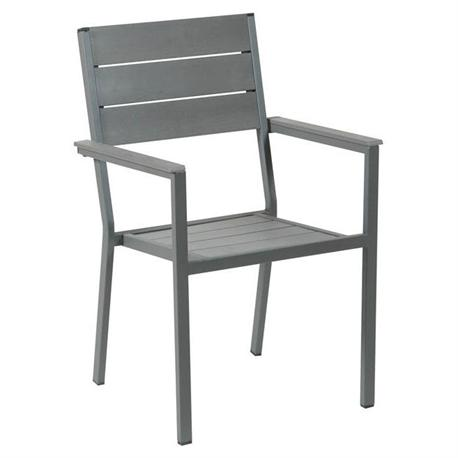 Stackable galvanized armchair grey Pollywood