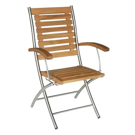 Folding armchair Teak-inox