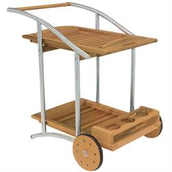 Trolley bar with wheels Teak-inox