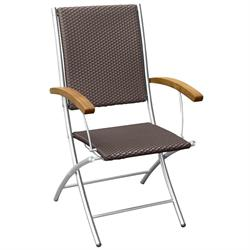 Folding armchair with synthetic rattan