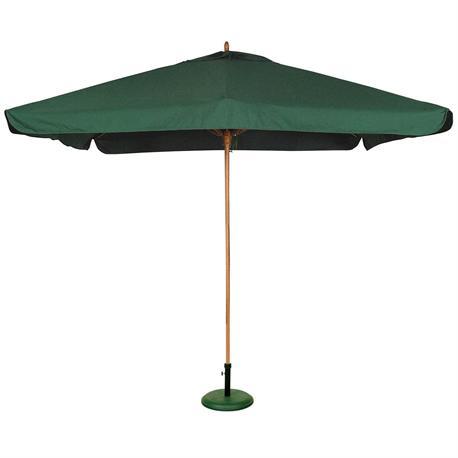 Square wood umbrella green 300Χ300 cm