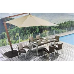 Round wood corner hunging umbrella Ø300 cm