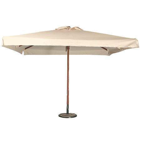 Square wood umbrella ecru 300Χ300 cm