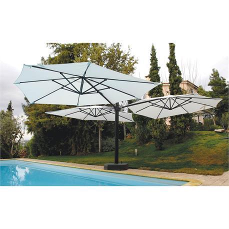 Triple square aluminium umbrella ecru 3XØ300 cm