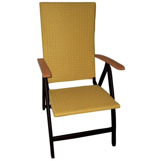 Aluminium armchair 5 positions high back with rattan for Armchair with high back