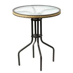 Τραπέζι στρογγυλό αλουμινίου με τζάμι Ø60 εκ