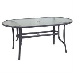 Oval aluminium table 75Χ130 cm